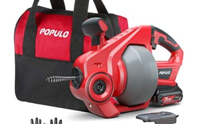 POPULO Electric Drain Auger, Plumbing Snake Drain Clog Remover Tools
