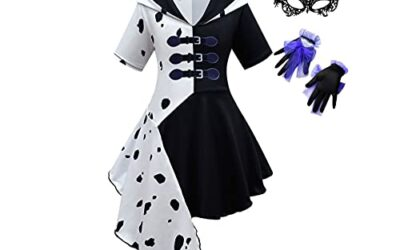 Girls Deville Costume Dress Cosplay Outfits with Gloves Mask 4-10Y